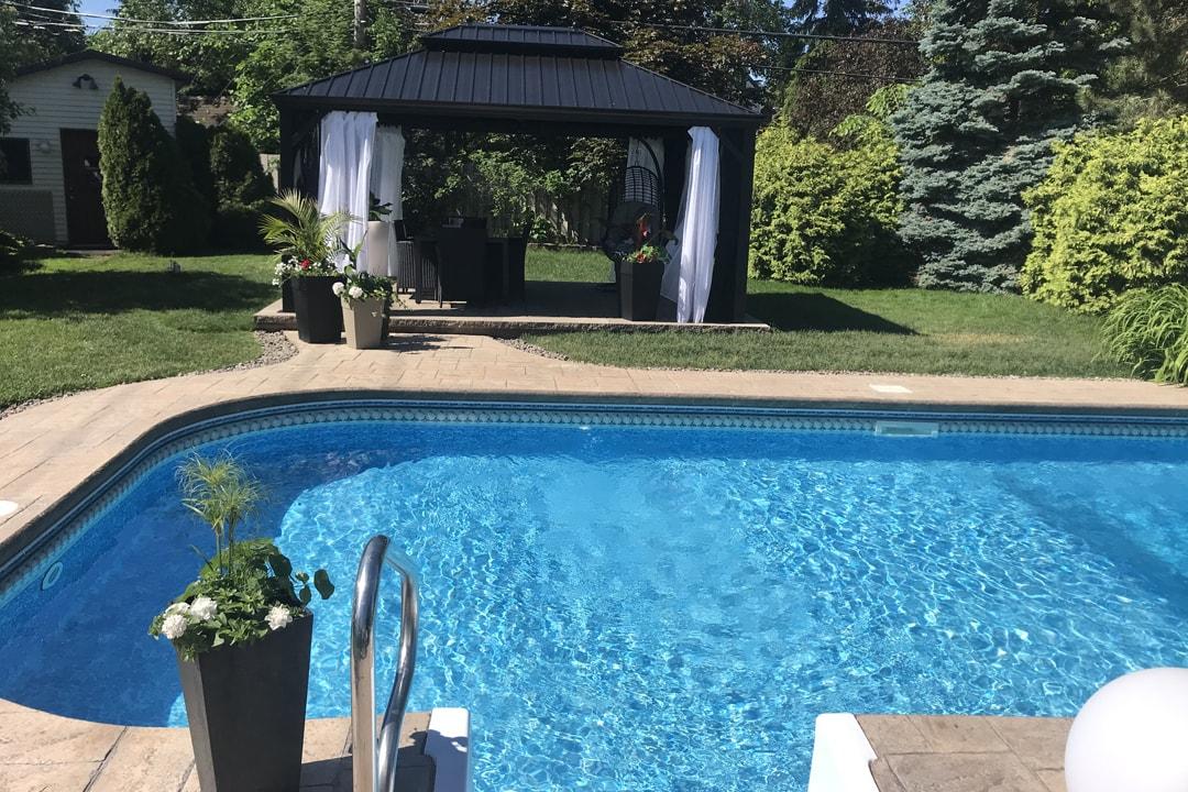paving patio-pool-dug-house